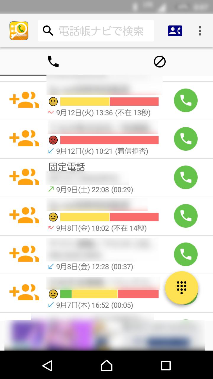 電話ナビの着信履歴画面